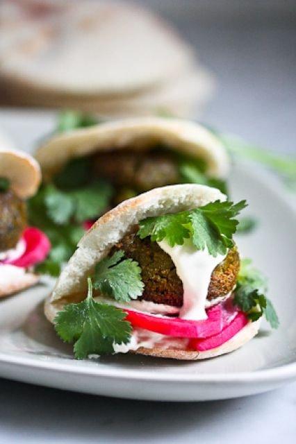 food,dish,produce,meat,falafel,