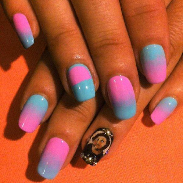 nail, color, manicure, purple, turquoise,