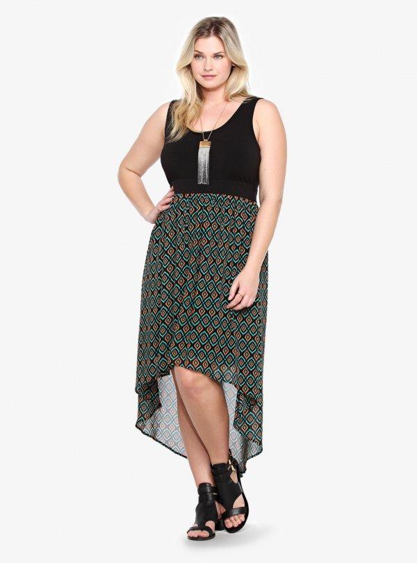 Knit & Tribal Chiffon Hi-Lo Dress