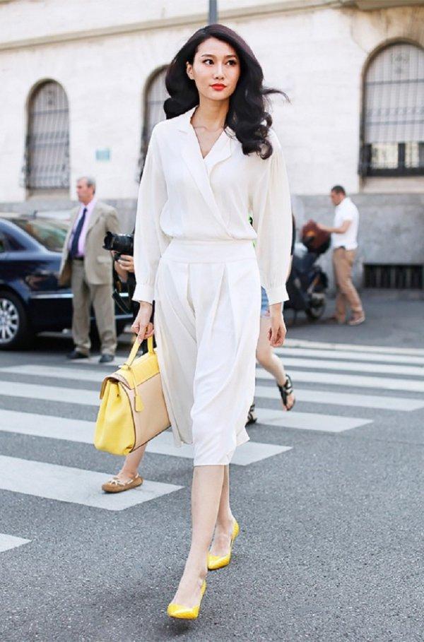white, yellow, fashion model, road, fashion,