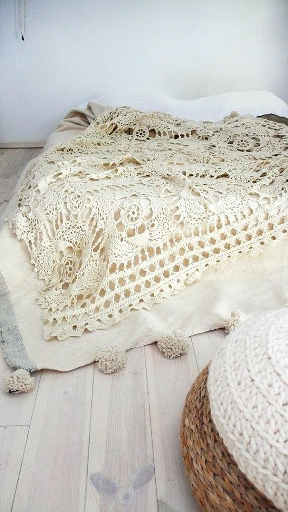 Vintage Crocheted Blanket Flower