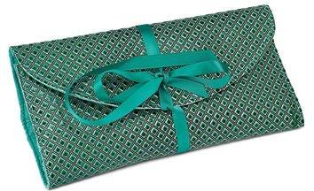 Green Diamond Pattern Wrap Jewelry Roll