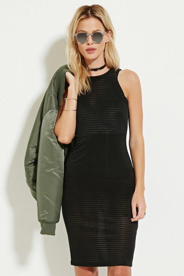 Shadow Stripe Midi Dress