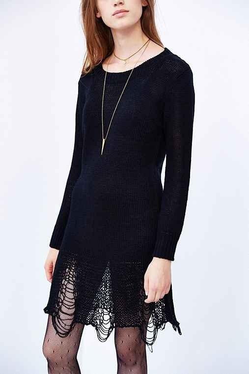 UNIF Loose Strings Sweater Mini Dress- Black
