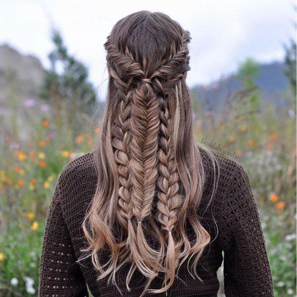 hair, hairstyle, long hair, french braid, brown hair,