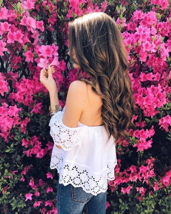pink, flower, red, woman, dress,