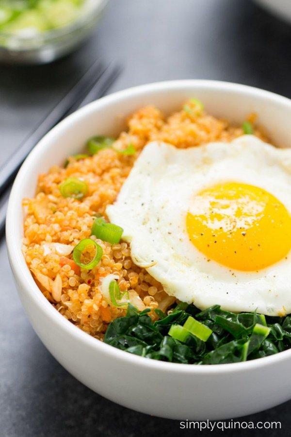 Spicy Kimchi Quinoa Bowl