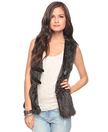 Buckled Faux Fur Vest
