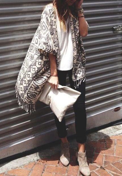 Black and White Print Kimono