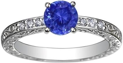 Brilliant Earth Sapphire Delicate Antique Scroll Ring