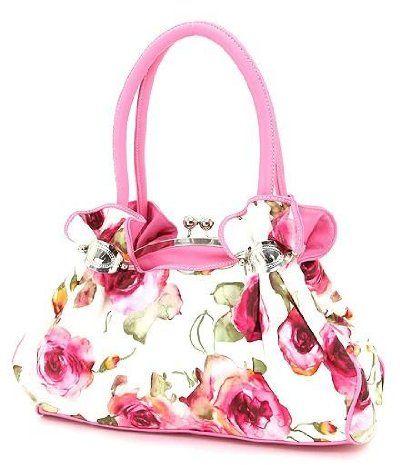 Hot Pink Flower Print Kisslock Satchel Handbag