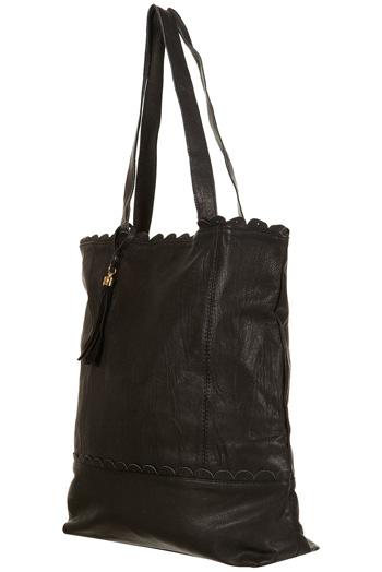 Topshop Black Leather Shopper
