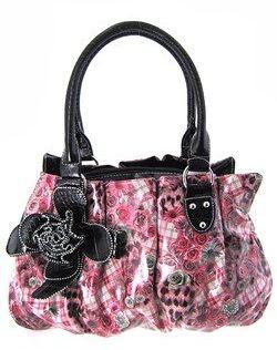 Cute 3D Flower Floral Animal Plaid Print Purse Hot Pink Black