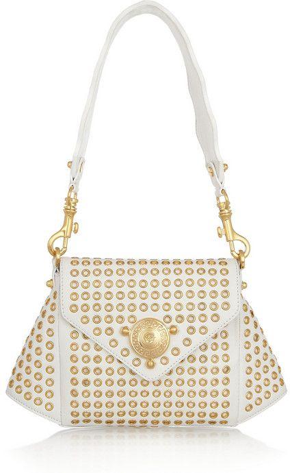 Versace Eyelet Studded Shoulder Bag