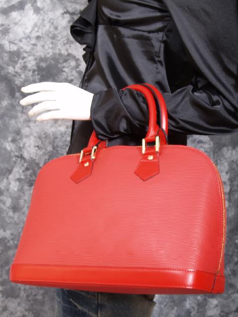 Louis Vuitton Red Epi Alma Handbag nKciF