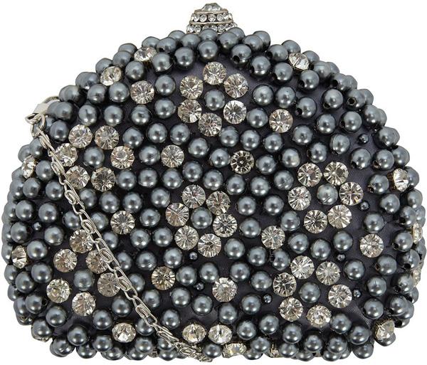Dorothy Perkins Grey Pearl and Diamond Clutch