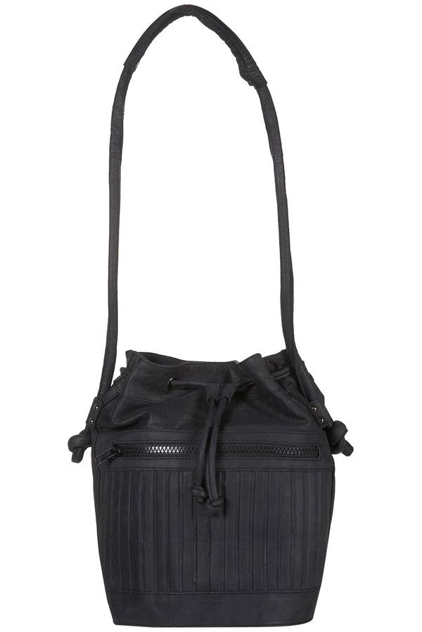 Sporty Leather Drawstring Bag