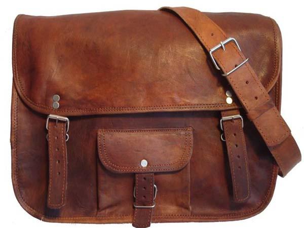 Leather School Messenger Bag
