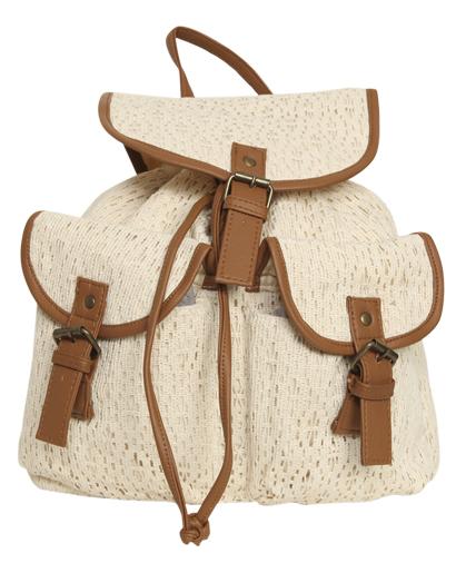 Crochet Leatherette Trim Backpack