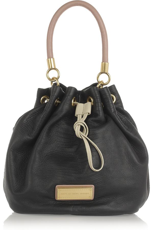 Lizard-Stamped Bucket Bag