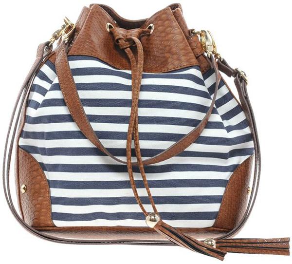 Striped Bucket Bag