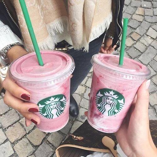 Starbucks, pink, footwear, shoe, flower,