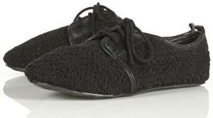Topshop Valora Black Crochet Brogue