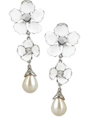 Oscar De La Rental Enamel Flower Earrings