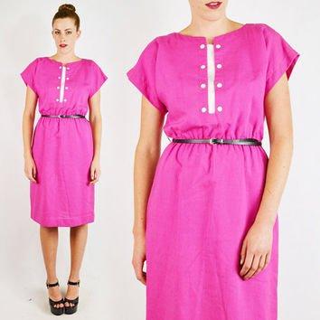 Vintage 80s Bright Pink SECRETARY Midi Dress