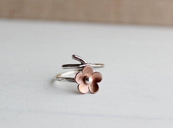 Cherry Blossom Branch Adjustable Ring