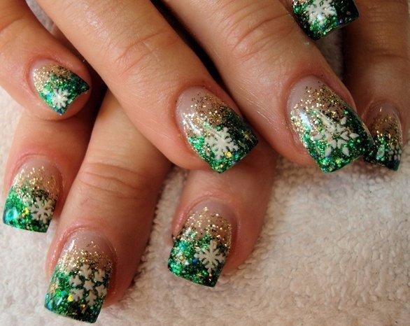 Sparkly Green Snowflakes