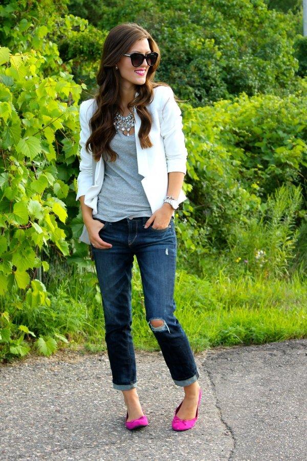 Blue Jeans and V-Neck Shirt