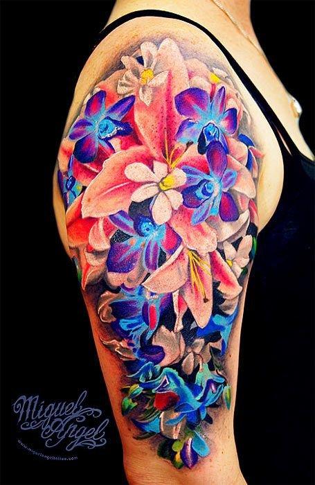 tattoo,arm,organ,flower,hand,
