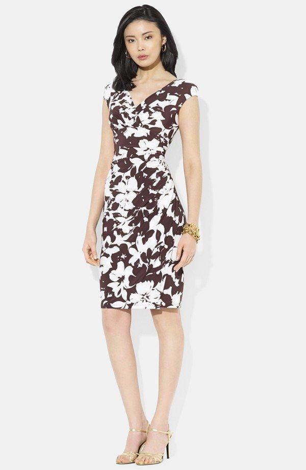 Floral Print Matte Jersey Dress - by Ralph Lauren