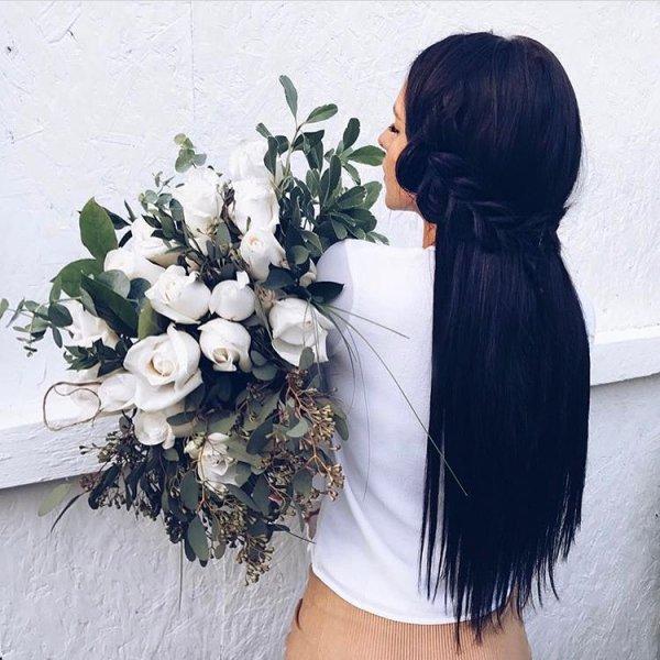 hair, flower, flower arranging, cut flowers, flower bouquet,