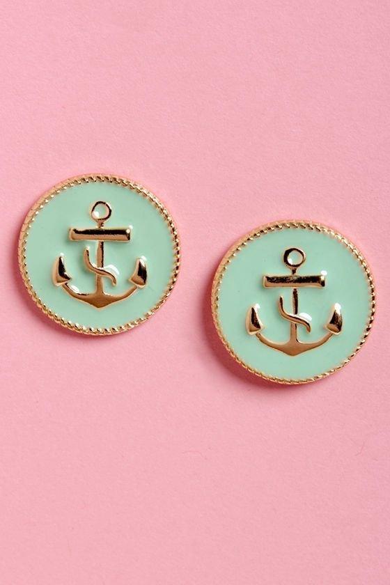 Mint Green Anchor Earrings