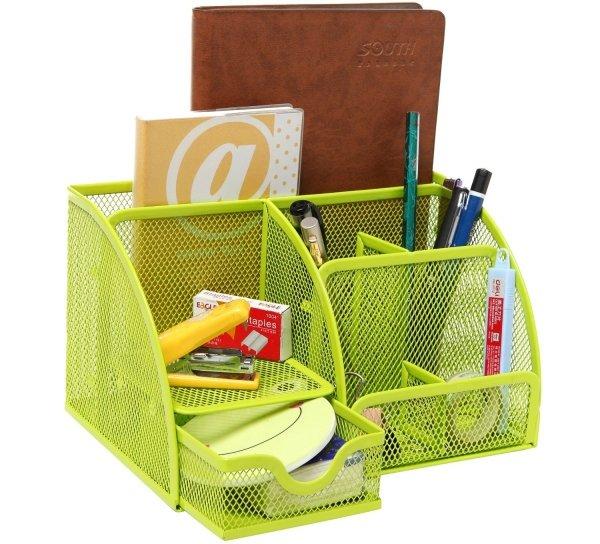 Green Metal Mesh 6 Compartment Desk Organizer