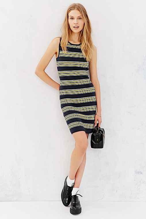 Cooperative Striped Bodycon Sweater Mini Dress- Blue Multi