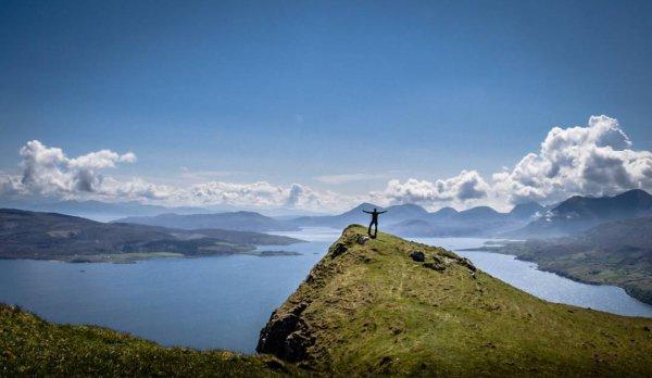highland, sky, mountainous landforms, mountain, ridge,