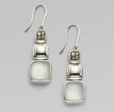 David Yurman Moon Quartz, Pavé Diamond & Sterling Silver Drop Earrings