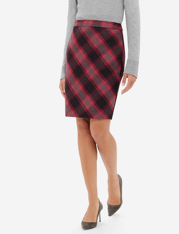 Soft Plaid Pencil Skirt