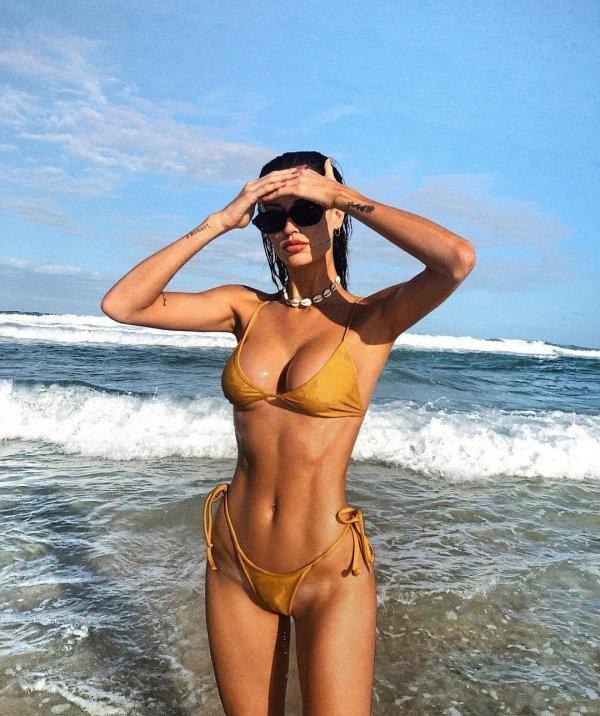 Swimwear, Clothing, Undergarment, Model, Swimsuit bottom,