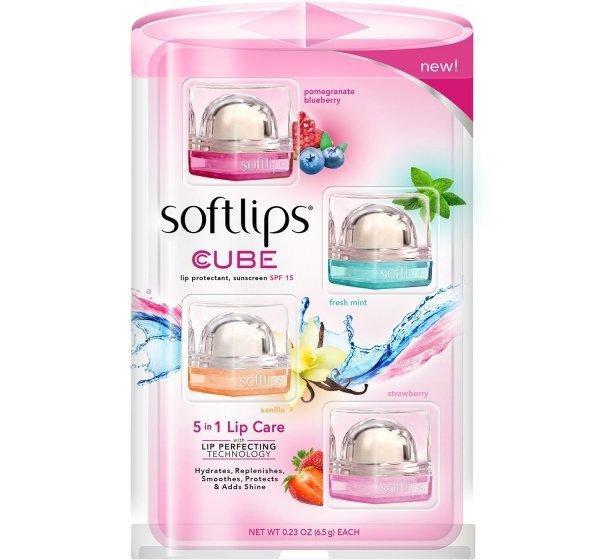 Softlips Cube Lip Balm, Variety Pack (4 Pack)