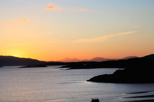 sky, horizon, loch, sunset, sea,