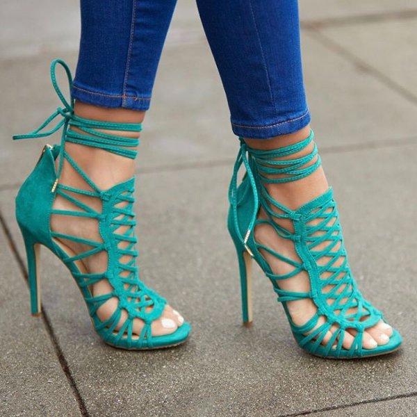 footwear, blue, high heeled footwear, green, shoe,