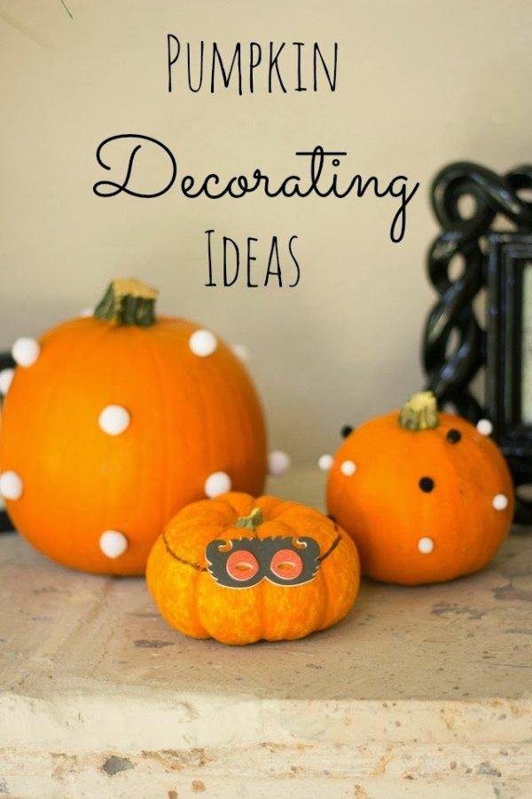 Decorating Pumpkins with Pom Poms