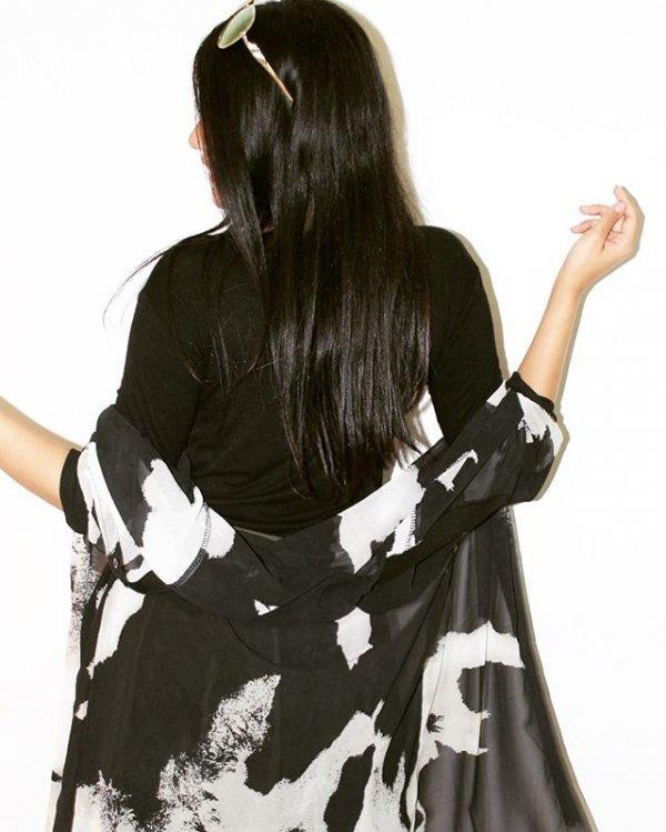 clothing, shoulder, black hair, costume, long hair,