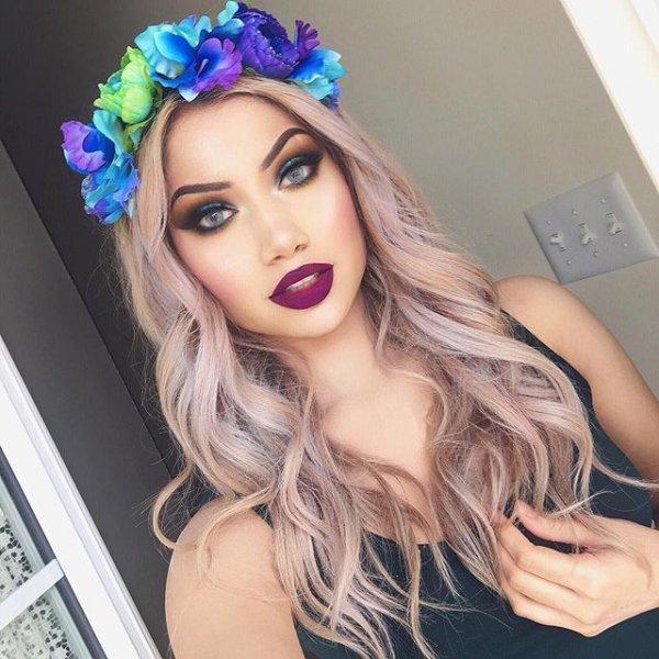 clothing, hair, lilac, headgear, model,