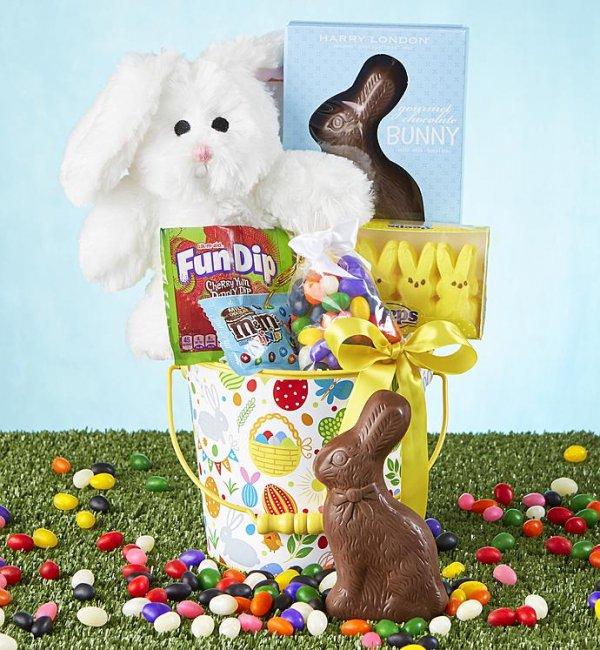 easter, gift basket, easter bunny, basket, food,