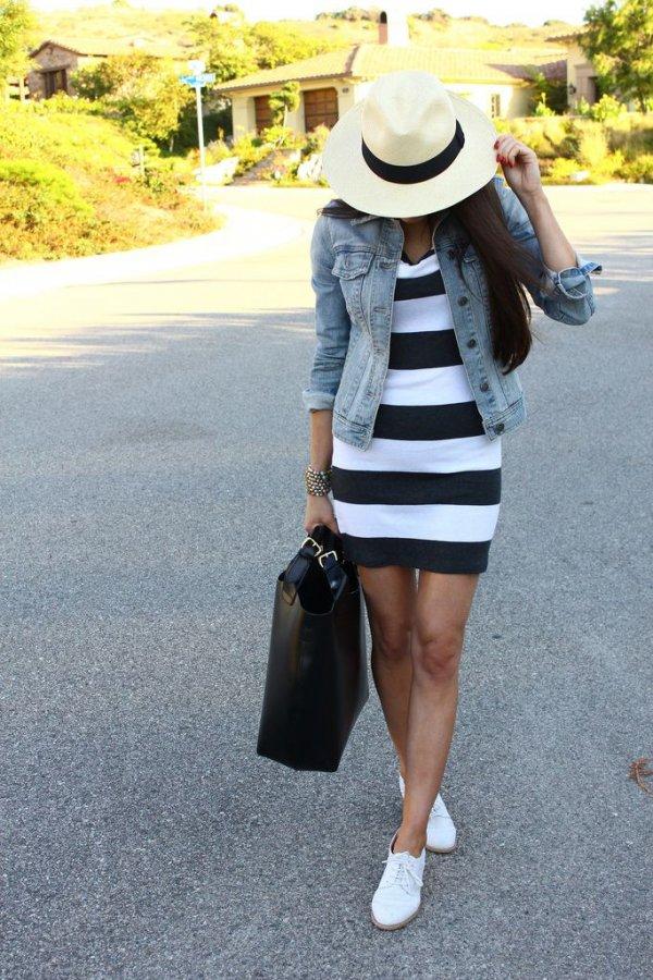 Striped Dress & Cute Hat
